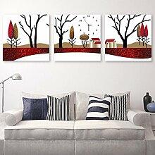Frameless Malerei Wanduhren 3 Bilder Uhren und Uhren, kreative Kunst Uhren, Wohnzimmer Eingang Dekoration, vertikale Version ( größe : 30*40cm )