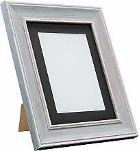 Frames By Post Scandi Vintage-Bilderrahmen, Distressed Blue With Black Mount, 40 x 50 cm Image Size 16 x 12 Inch