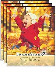 FrameStarr 10x8 Bilderrahmen-Set (Schwarz,