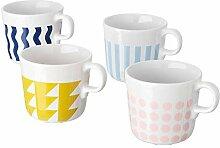 FRAMKALLA Tasse mit verschiedenen Mustern