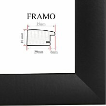 FRAMO 35 Bilderrahmen 100x70 cm, Farbe: Schwarz