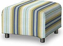 FRANC-TEXTIL 636-141-17 Klippan Hockerbezug, Mirella, blau / beige