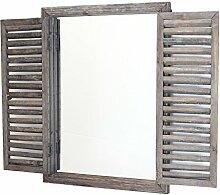 Frank Flechtwaren Holz-Spiegel Fenster