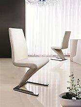 Frankfurt Schwingstühle, Designerstühle, für Esszimmer, Kunstleder/ Chrom, 2 Stück cremefarben