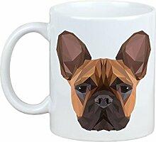 Französische Bulldogge, Becher mit einem Hund, Tasse, Keramik, neue geometrische Sammlung
