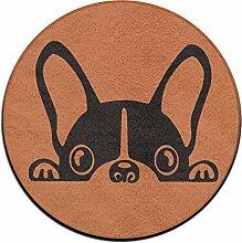 Französische Bulldogge rund Boden Teppich Fußmatten für Esszimmer Schlafzimmer Küche Badezimmer Balkon