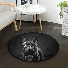 Französische Bulldogge schwarz runde Fläche