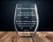 Französische Bulldogge Weinglas für Frauen,