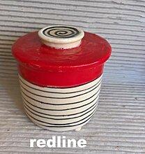 Französische Wasserbutterdose Keramik in redline