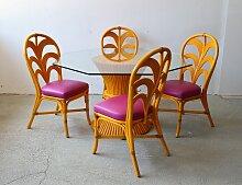 Französischer Bambus Gartentisch & Stühle, 1980er