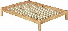 Französisches Bett 140x200 Doppelbett Futonbett Massivholzbett Buche natur Rollrost 60.84-14