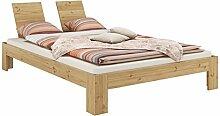 Französisches Bett 140x200 Kiefer Massivholz natur Einzelbett Futonbett mit Rollrost 60.67-14-Leo M