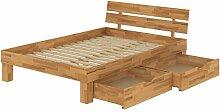 Französisches Bett Doppelbett 140x200 Buchebett Massivholz natur mit Bettkasten 60.86-14 B33