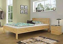 Französisches Bett Doppelbett Grand-lit 140x200 Kieferbett Massivholz natur mit Rollrost 60.68-14