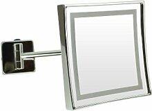 Frasco 99K3H070 LED-Wandspiegel, 20x20 cm, 3-fach, Direktanschluss, 2in1 Kippschalter, Chrom