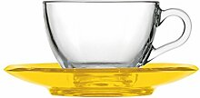 Fratelli Guzzini Gocce Becher Cappuccino mit Untertasse, san|glass, gelb transparen