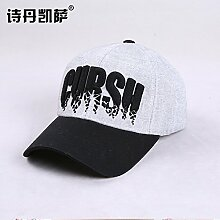 Frau Hut hüte Sommer Korea Baseball Cap tide Sonnenschutz Hut faltbar Visor, M (56-58 cm), Schwarz