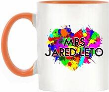 Frau Jared Leto Design bicolor Becher mit Henkel Orange & Innen