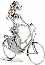Frau mit Hollandrad Stahlfigur als Schraubenmännchen Schweissfigur der besonderen Art und ideales Männergeschenk Design von Hinz & Kuns