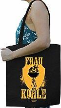 Frau mit Kohle Lustige Fun Motiv Tasche Einkaufstasche Baumwolltasche - Geschenk für Grill-Fans Farbe: schwarz