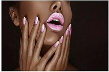 Frau mit rosa Lippen und rosa Nägeln Leinwand