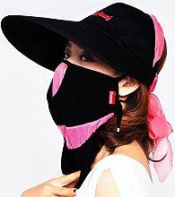 Frau Sommer Hut faltbarer Schirm Kappe UV Sonnenhut reiten entlang den Berg Gesicht Sonnenschutz Sonnenschirm Kappe, schwarz, schwarz