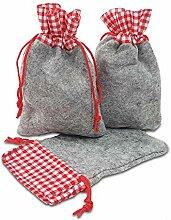 Frau WUNDERVoll® 12 Filz-Säckchen rot/grau 15 x