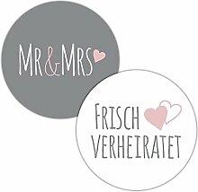 Frau WUNDERVoll® 48 Aufkleber MR & MRS, FRISCH