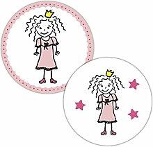 Frau WUNDERVoll® 48 Aufkleber Prinzessin, ROSA,