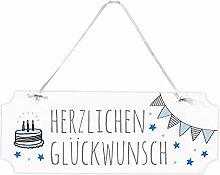 Frau WUNDERVoll® SCHILD GEBURTSTAG JUNGE, 40 x 15