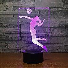 Frauen 3D Volleyball Lampe 7 Farbe LED-Leuchten