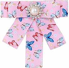 Frauen Druck Schmetterling Brosche Mädchen Zirkon Gehobene Kragen Mädchen Kleid Broschen Accessoires,Pink-OneSize