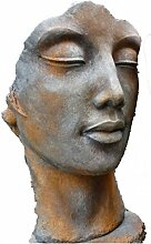 Frauen Gesicht Rosteffekt, Büste, Skulptur aus Steinguss