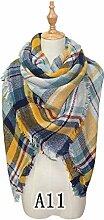 Frauen Schal Schal Warme Weiche Winter Schal Hohe Qualität Feminine Plaid Genäht Schal Multicolor Mode Lange Schal Beste Geschenk für Freundin Und Mutter Weihnachtsgeschenk Neujahr Geschenk 140 * 140 Cm, A11