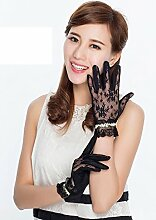 Frauen-Spitze-Sonnenschutz-UVhandschuhe Sommer-Frühlings-Radfahren-Antrieb dünne kurze elastische Handschuhe ( Farbe : 6 )
