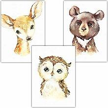 Frechdax® Bilder Babyzimmer 3er Set DIN A4 ohne