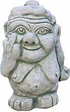 Freche Oma, witzige Skulptur aus Steinguss, ausgefallene Figur