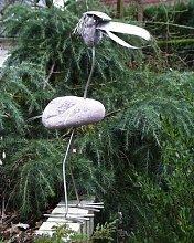 Freddy stehend Lustige Edelstahlfigur Gartenfigur und Gartendeko als Steinvogel aus Edelstahl und Stein Größe L ca 70 cm hoch Design Tiedemann