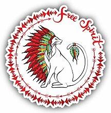 Free Spirit Cat Emblem - Self-Adhesive Sticker Car