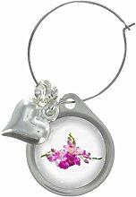 Freesien Blume Bild Design Weinglas Anhänger mit schicker Perlen