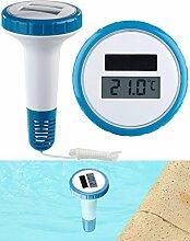 FreeTec Badethermometer: Digitales Solar-Teich-& Poolthermometer, LCD-Anzeige, wasserdicht IPX7 (Wasserthermometer)