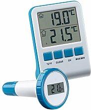 FreeTec Wasser Thermometer: Digitales Teich- und Poolthermometer mit LCD-Funk-Empfänger, IPX8 (Teichthermometer)