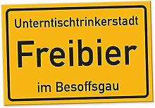 Freibier im Besoffsgau - Schild (30 x 20 cm), Lustige Geschenkidee Geburtstagsgeschenk für den besten Freund oder Kumpel, Kleines Geschenk für Männer, Wanddeko Mallorca-Party, Zubehör für Trinkspiele