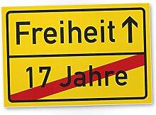 Freiheit (17 Jahre) - Schild / Ortsschild gelb, Geschenk 18. Geburtstag bester Freund / Freundin, Geschenkidee Geburtstagsgeschenk zur Volljährigkeit, Kleines Geschenk 18er Geburtstagsparty