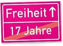 Freiheit (17 Jahre) - Schild / Ortsschild rosa, Geschenk 18. Geburtstag bester Freund / Freundin, Geschenkidee Geburtstagsgeschenk zur Volljährigkeit, Kleines Geschenk 18er Geburtstagsparty