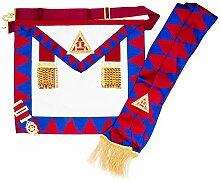 Freimaurer Freimaurer Royal Arch Prinzipien Schürze & Schärpe mit Brust Juwel, Imitation Leather, Large Jewel Size