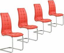 Freischwinger 4er Set Esszimmerstühle Schwingstühle Chrom Kunstleder (Rot)