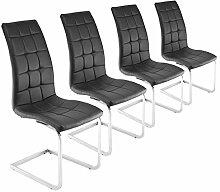 Freischwinger 4er Set schwarz Esszimmerstühle Schwingstühle Chrom Kunstleder