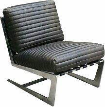 Freischwinger-Sessel Boyle aus Edelstahl und Vintage Leder schwarz