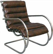 Freischwinger-Sessel Brisbane Vintage-Leder braun Stahlrohr